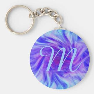 Purple & pink swirl background for monogram basic round button keychain