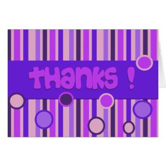 purple pink thanks greeting card