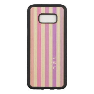 Purple & Pink Vertical Stripes Monogram Carved Samsung Galaxy S8+ Case