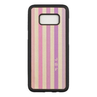 Purple & Pink Vertical Stripes Monogram Carved Samsung Galaxy S8 Case