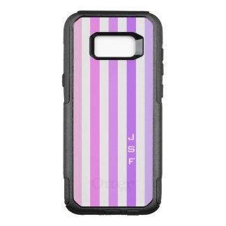 Purple & Pink Vertical Stripes Monogram OtterBox Commuter Samsung Galaxy S8+ Case
