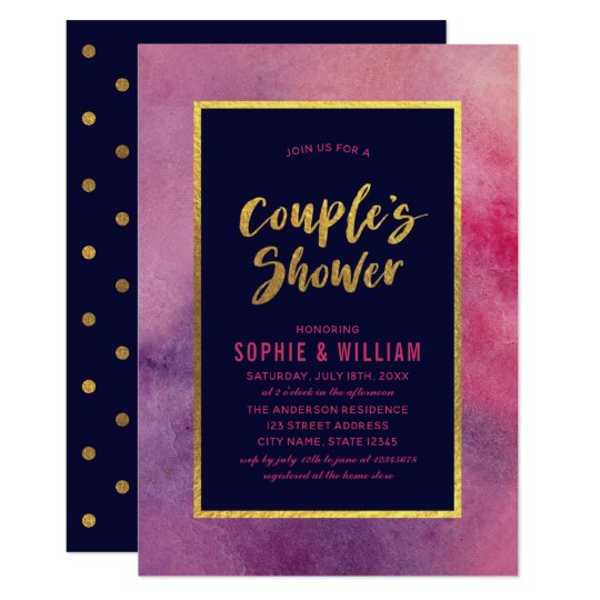Purple Pink Watercolor & Faux Gold Couple's Shower Card