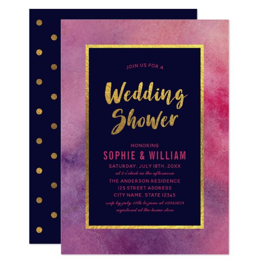 Purple Pink Watercolor & Faux Gold Wedding Shower Card