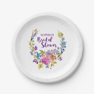 Purple Pink Watercolor Floral Wreath Bridal Shower Paper Plate