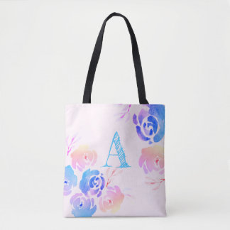 Purple & Pink Watercolor Flowers & Foliage Tote Bag