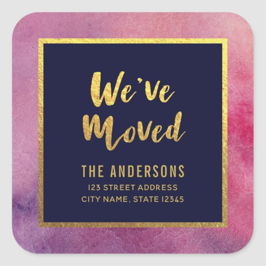Purple Pink Watercolor Gold We've Moved Address Square Sticker