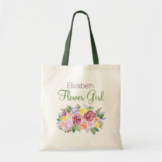 Purple Pink Wine Flower with Name Flower Girl Tote Bag