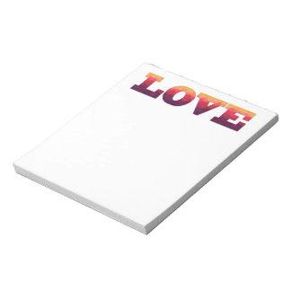 Purple, pink, yellow geometric Love notepad