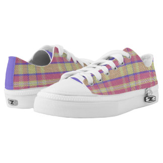 Purple/Pink/Yellow Plaid Low Top Sneakers