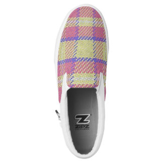 Purple/Pink/Yellow Plaid Slip On Sneakers