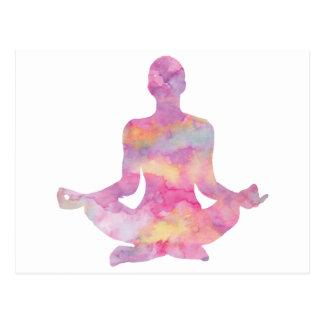 Purple pink yogi meditating postcard