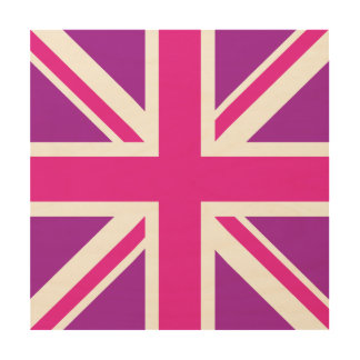 Purple & Pinks Union Jack/Flag Square Wood Wall Decor