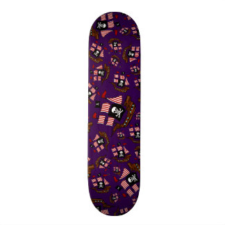 Purple pirate ship pattern skate board decks