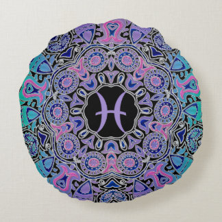 Purple Pisces Mandala Round Pillow