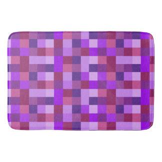 Purple Pixel Squares Abstract Bath Mat