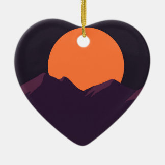 Purple Pixel Sunset Ceramic Heart Ornament