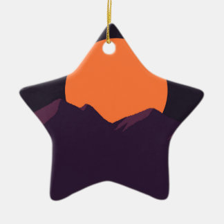 Purple Pixel Sunset Ceramic Ornament
