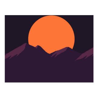 Purple Pixel Sunset Postcard