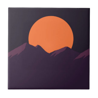 Purple Pixel Sunset Tile