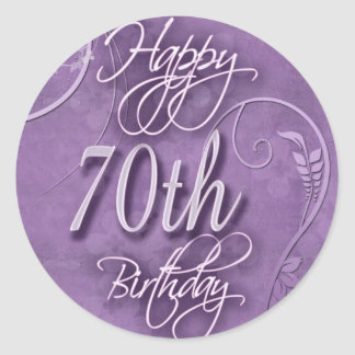 Purple pizazz for 70th birthday classic round sticker