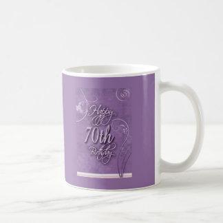 Purple pizazz for 70th birthday coffee mugs