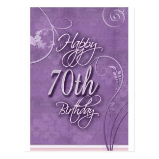 Purple pizazz for 70th birthday postcard