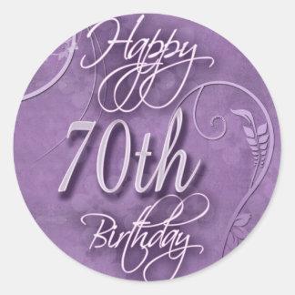 Purple pizazz for 70th birthday round stickers