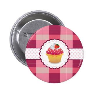 Purple Plaid cupcake Fun Pin