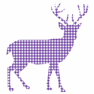 Purple plaid Deer Standing Photo Sculpture