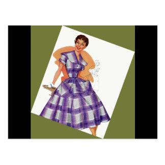 Purple Plaid Dress Postcard
