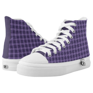 Purple Plaid High Top Sneakers