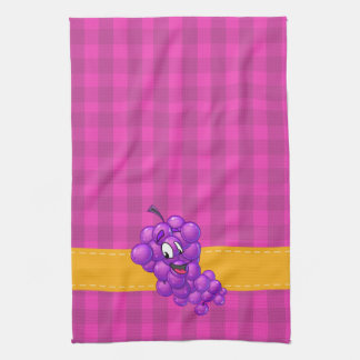 Purple plaid kitchen towel grape cartoon