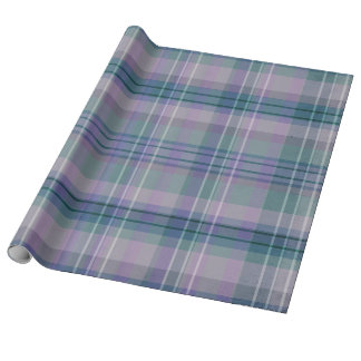 Purple Plaid Linen Wrapping Paper