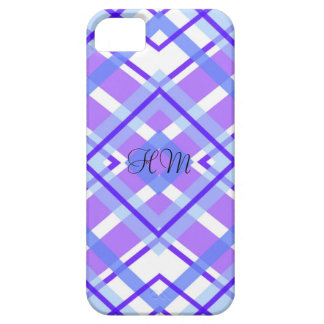 Purple Plaid Monogram Custom Initials Case For The iPhone 5
