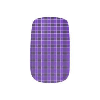 Purple Plaid Print Nail Art