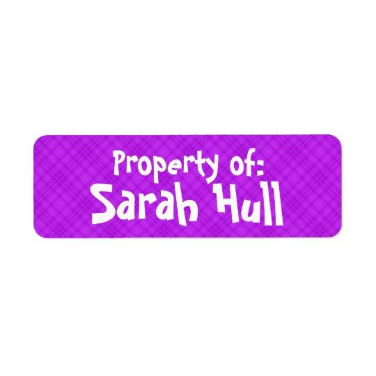 "Purple Plaid ""Property of:"" Label Return Address Label"