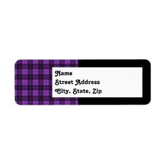Purple Plaid Return Address Label