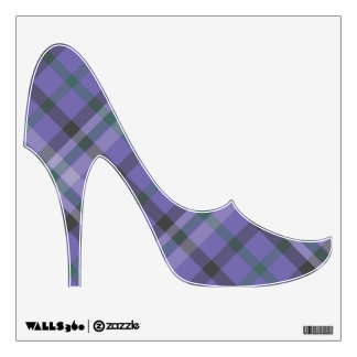 Purple plaid shoe decor for a rockstar room - wall sticker