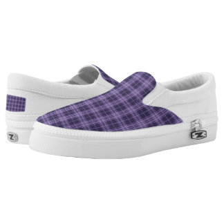 Purple Plaid Slip On Sneakers