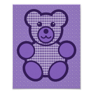 Purple Plaid Teddy Bear Print