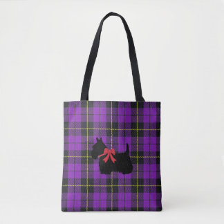 Purple plaid with Scottish Terrier with red bow Tote Bag