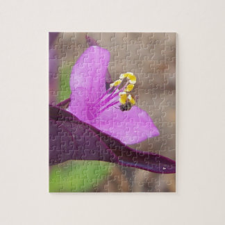 purple plant called spiderwort and a tiny bee jigsaw puzzle