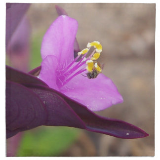 purple plant called spiderwort and a tiny bee napkin