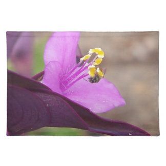 purple plant called spiderwort and a tiny bee placemat