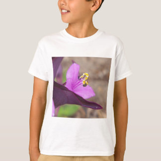 purple plant called spiderwort and a tiny bee T-Shirt
