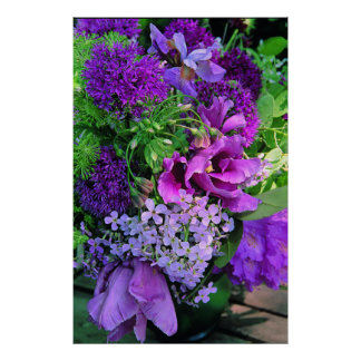 Purple Planter Floral Arrangement Print