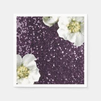 Purple Plum Beach Jasmin Glitter Sequin Sparkl Napkin