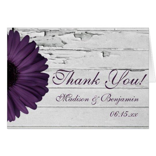 Purple Plum Daisy Rustic Wedding Thank You Cards