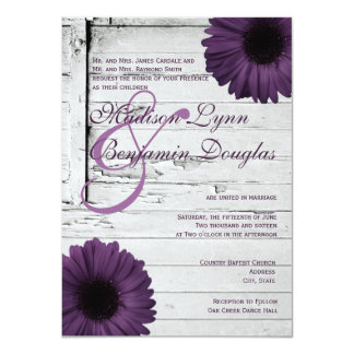 Purple Plum Gerber Daisy Wedding Invitations Ver2