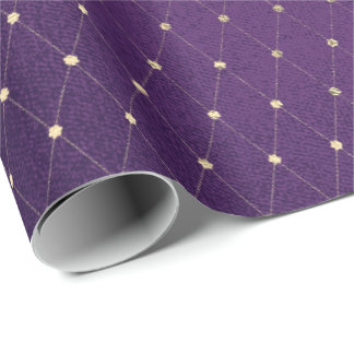 Purple Plum Golden Net Delicate Diamond Cut Wrapping Paper